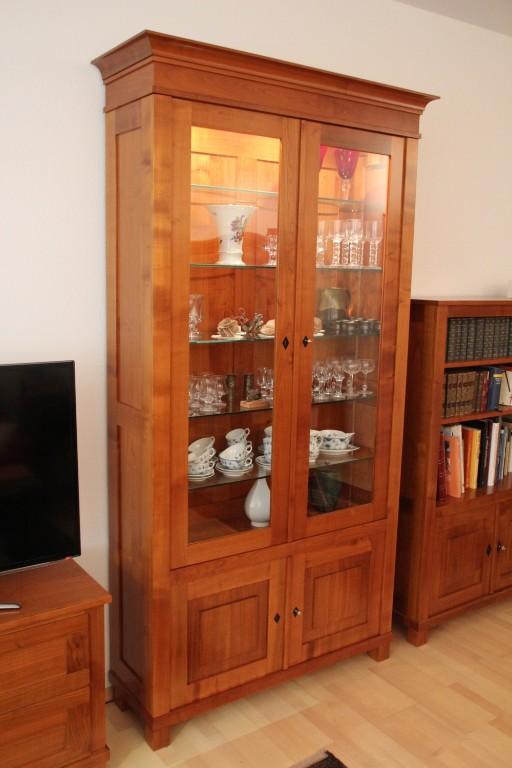 Moderne Wohnwand Kirsche :  , Vitrine & Lowboard für Flachbild TV in Kirsche seidenmatt